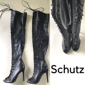 Schutz Genuine Leather Over the Knee Lace Up Boots